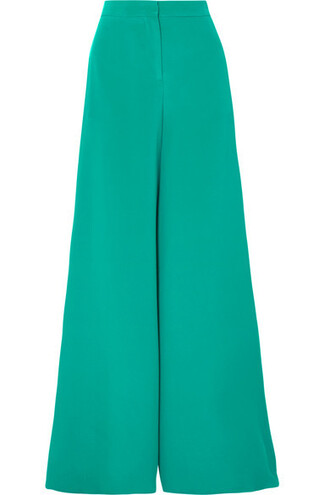pants wide-leg pants green