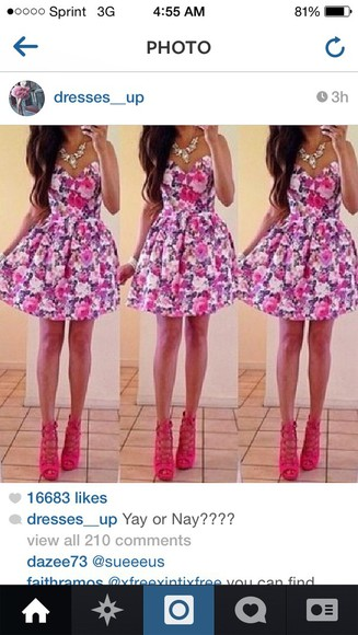 floral dress pink and purple cute dress