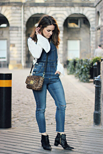 the little magpie blogger blouse white top leopard print denim overalls ankle boots