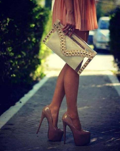 bag purse clear gold