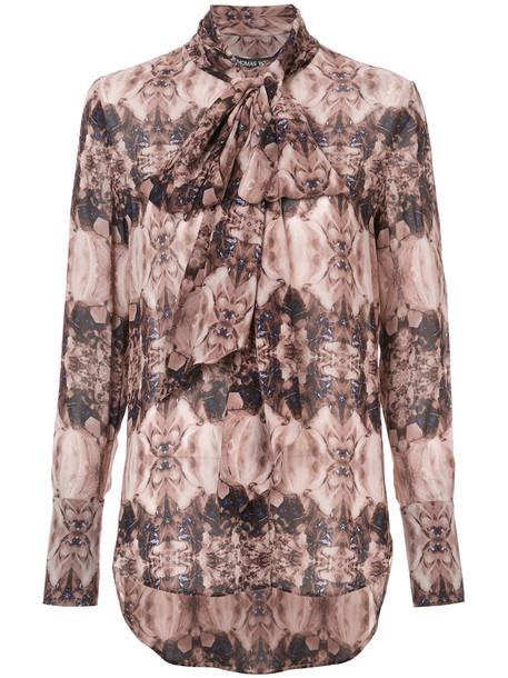 blouse printed blouse long women silk brown top