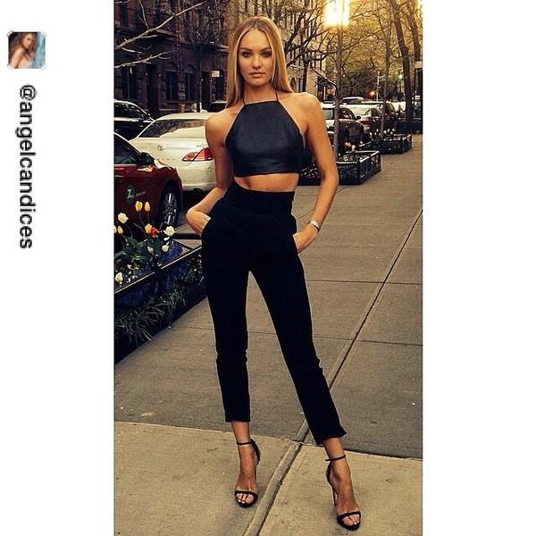 blouse pants shoes black candice swanepoel skinny heels grey skinny tight heels quilted top halter top