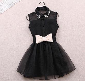 dress little black dress pearl ribbon diamonds
