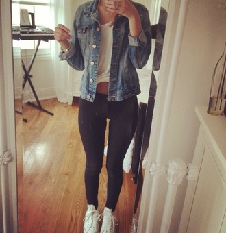 tank top white white tee t-shirt denim jacket black leggings jeans converse pants shoes jacket
