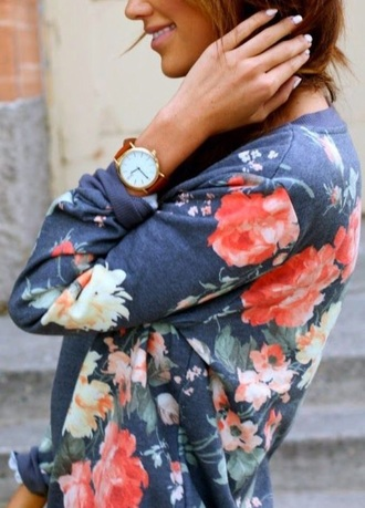 top floral sweater multi colored