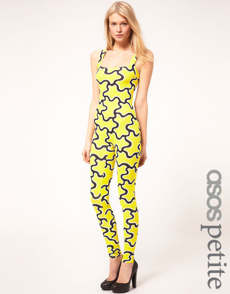 asos pants petite cut out jumpsuit squiggle print yellow black cut out back small sexy hott bodycon
