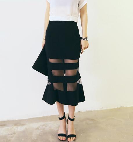Sheer stripe long black skirt · fashion struck · online store powered by storenvy