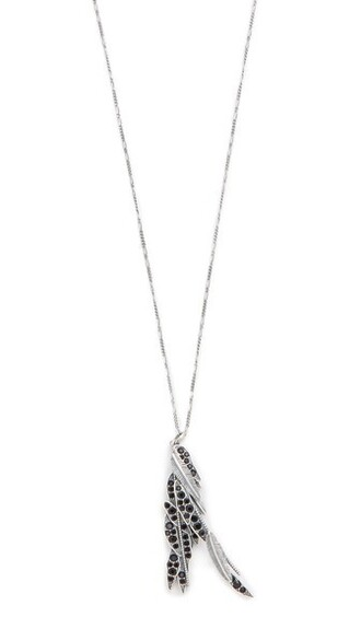 long dark necklace pendant silver jewels
