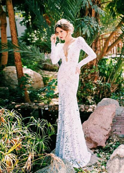 white dress lace dress wedding dress long sleeve dress hipster wedding