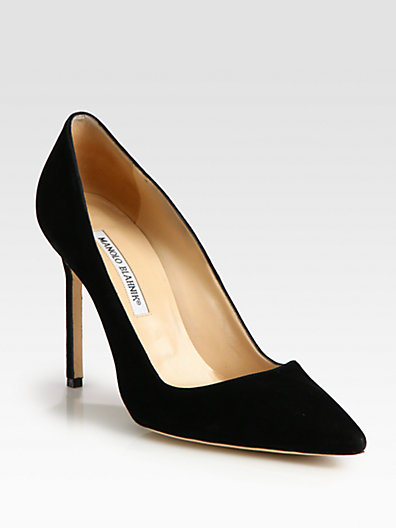 Manolo Blahnik - BB Suede Point-Toe Pumps - Saks.com