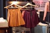 skirt,burgundy,mustard,yellow,pleated,mini skirt