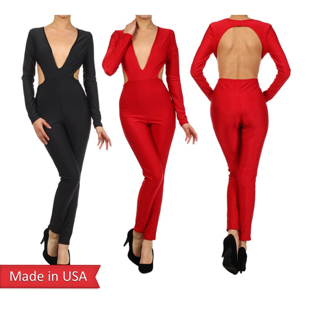 Sexy long Sleeves Plunging Deep V Neck Open Back Jumpsuits Catsuits Romper USA