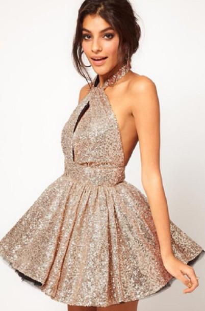 dress sparkle skater halter neck mini cute sexy new year s eve christmas  xmas short sequins glitters 22ae474e4