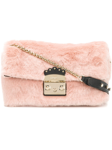 metal fur faux fur women bag purple pink