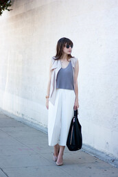 jeans and a teacup,blogger,jacket,bag,sunglasses,jewels,grey top,sleeveless,nude jacket,white pants,wide-leg pants,culottes,flats,nude shoes,black bag,ribbed top,halter top,vest,white culottes,handbag,spring outfits,duster vest