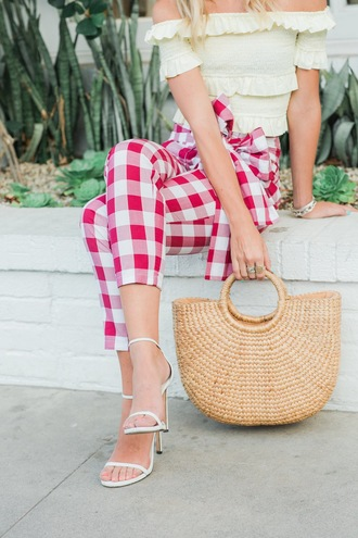 pants tumblr gingham red pants bag handbag sandals sandal heels high heel sandals shoes