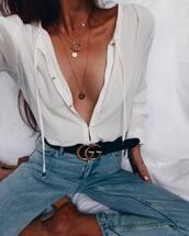 belt,gucci belt,logo belt,black belt,shirt,white shirt,jeans,light blue jeans,necklace,gold necklace,minimalist,minimalist jewelry