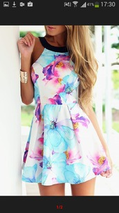 dress,floral dress,summer dress,halter neck,floral,bracelets,colorful dress,colorful,shoes,same color as the picture,spring outfits,spring dress,blue,purple,skater dress,girly,cute,high neck,pretty,tumblr,multicolor,summer,dress for teens,summer outfits,flowers,pink,white,black,mini dress,cute dress,cute outfits,tumblr outfit,tumblr girl