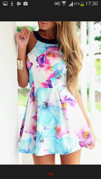 dress floral dress summer dress halter neck floral bracelets colorful dress colorful shoes same color as the picture spring outfits spring dress blue purple skater dress girly cute high neck pretty tumblr multicolor summer colorful dress for teens summer outfits flowers pink white black floral dress mini dress cute dress cute outfits tumblr outfit tumblr girl