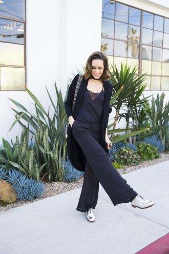 louise roe blogger jumpsuit cardigan shoes bag