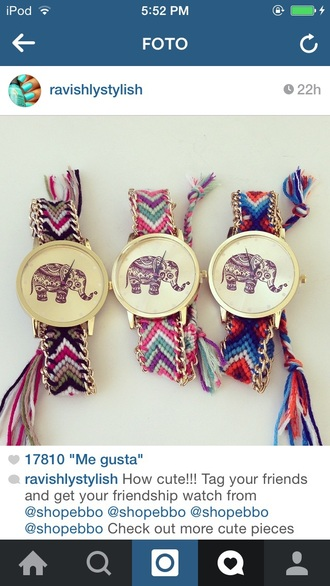 jewels watch elephant colorful love tribal pattern