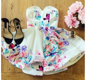 dress short dress flowers elegant party beautiful fashion
