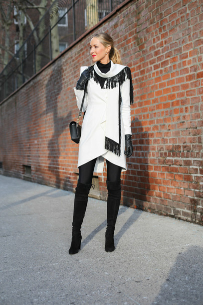 the classy cubicle blogger coat leggings gloves knee high boots winter dress