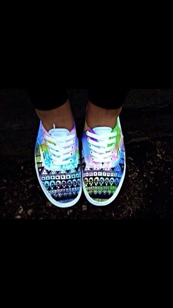 shoes vans water color aztec