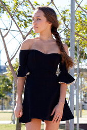 black,off the shoulder,dress,ruffle sleeves,fit and flare dress,skater dress,shopfashionavenue,prom,homecoming dress