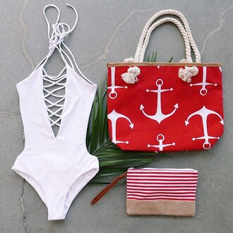 swimwear bikini one piece swimsuit one piece bodysuit beach holidays anchor stripes gojane