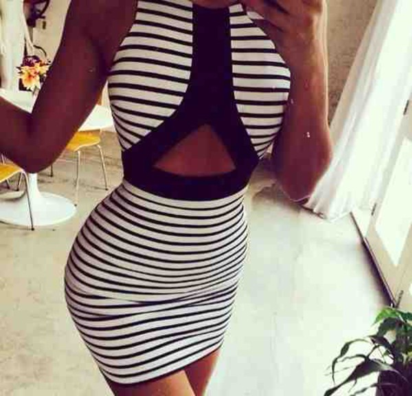 striped dress stripes black white dress bodycon dress bodycon dress black and white dress clothes dress black and white stripy cut-out dress striped dress mini dress halter neck white fashion girly summer dress short hot style cut-out dress striped black and white