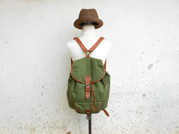 Vintage Green CERVO Linen Backpack / Rucksack / by VindicoShop