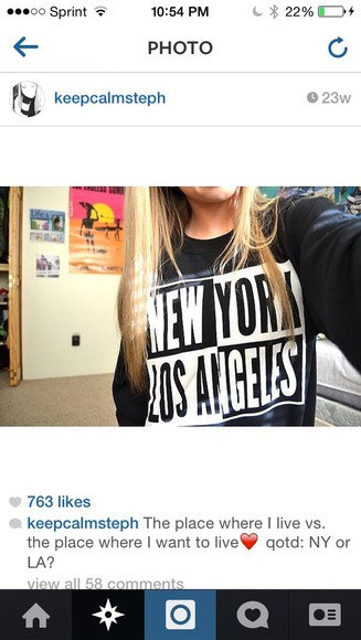 new york city crewneck los angeles los angelas stephanie densemore