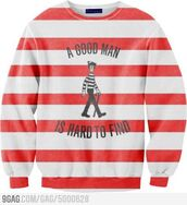 sweater,sweatshirt,striped sweater,red and white,waldo,stripes,menswear,shirt,waldo stripes,Where's Waldo?,tumblr