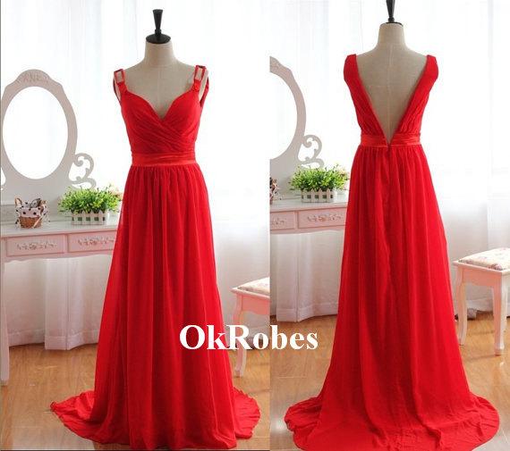 Red Prom Dress V Neck Prom Dress Chiffon Prom Dress door OkRobes