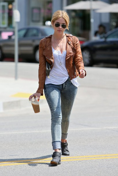 Jeans: cuffed jeans, ashley benson, celebrity style, celebrity ...