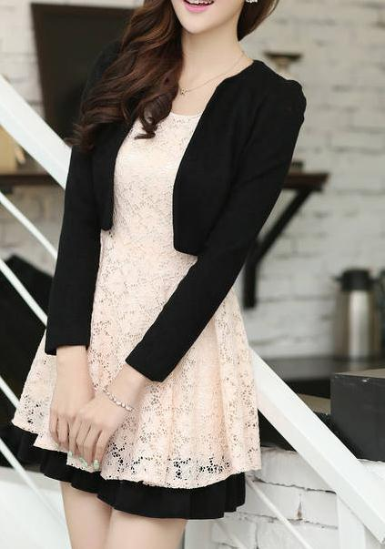 Cute lace dress with jacket two piece