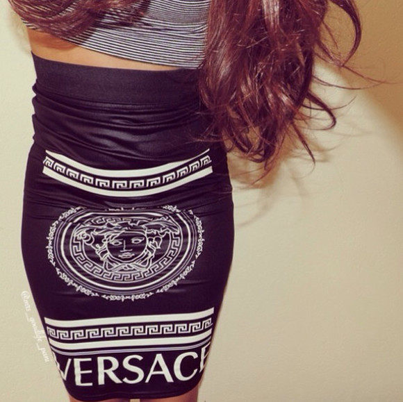 black and white skirt style versace