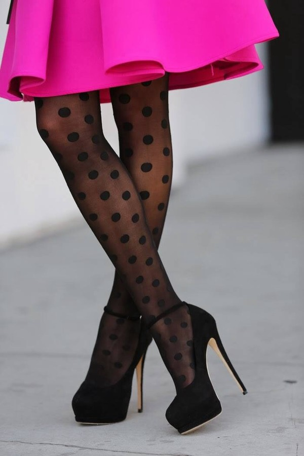 underwear polka dots black sheer tights pink shoes dress