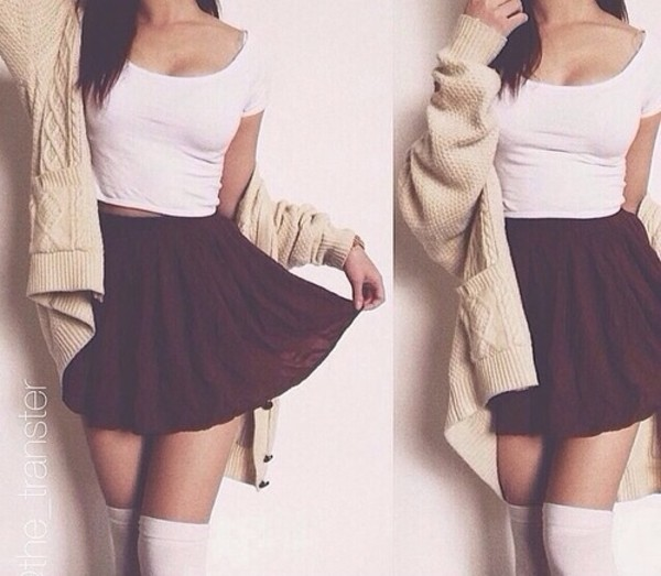 tank top crop tops white t-shirt white crop top tshirt skirt cardigan button high waisted skirt knee high socks cute outfits cute top skater skirt knee sock over the knee socks cream burgundy grey coat t-shirt burgundy