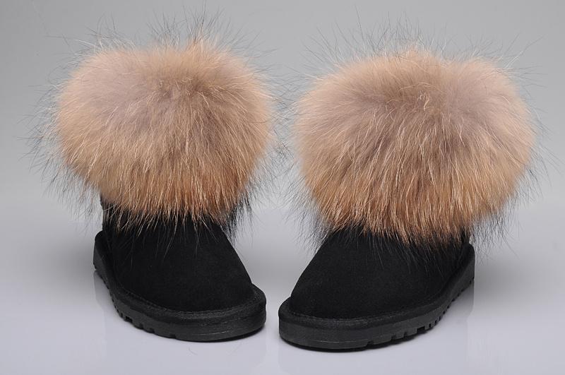 Womens ugg australia 5854 classic mini fox fur boots black for Ugg fourrure exterieur