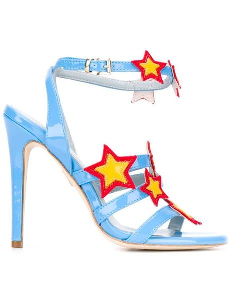 women sandals leather blue stars shoes