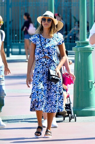 skirt top midi skirt jessica alba sandals sunglasses hat two piece dress set two-piece summer outfits