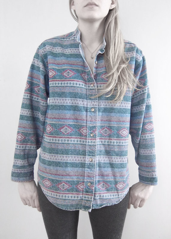 Vintage native aztec button shirt l l bean by mothballz on wanelo