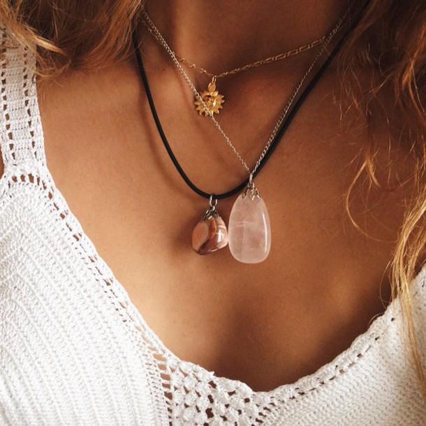jewels necklace rock crystal sun gold jewelry sixkisses women fashion chic stone gold layered