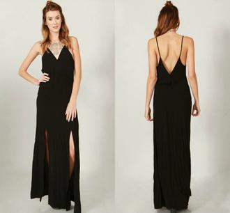 dress elegant designer chic miley cyrus selena gomez black beach summer spring 2015 country maxi long split fashion outfit look spaghetti straps dress