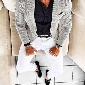 jacket grey blazer fashion menswear streetstyle shirt black and white mens blazer texture