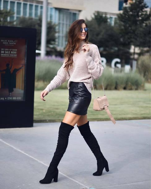 sweater tumblr knit knitwear knitted sweater nude sweater skirt mini skirt leather skirt black leather skirt boots over the knee boots over the knee