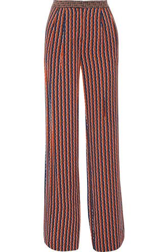 pants wide-leg pants silk navy