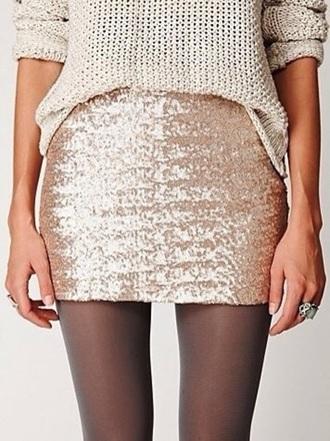 skirt gold sequins